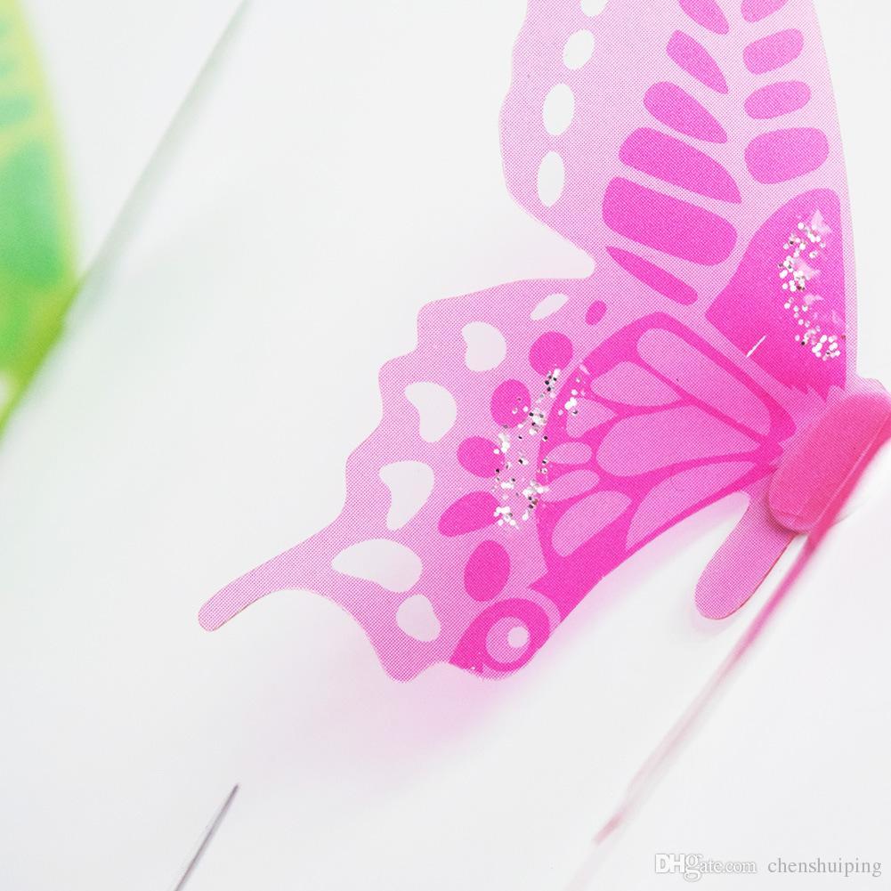 18 peças / lote PVC Borboleta 3D Adesivo De Parede Para Sala de Crianças Decoração Sala de estar cores misturadas frete grátis