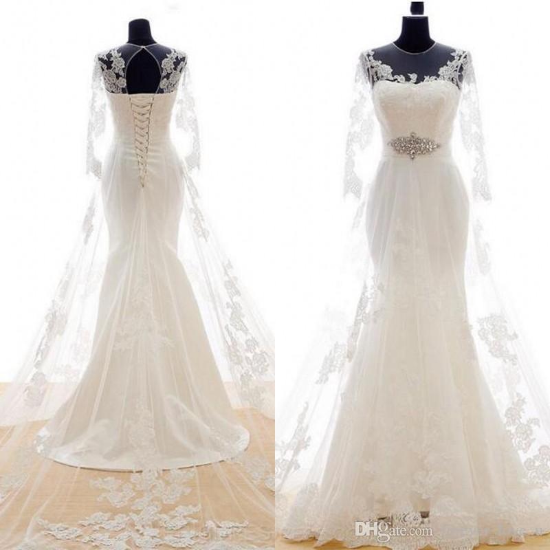 Stunning Corset Lace Up Back Mermadi Wedding Dress Sheer Jewel Neck