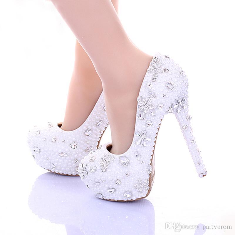 9b66ff4326ca1d 14cm High Heel White Pearl Wedding Shoes Women Pumps Spring High Heel Bridal  Dress Shoes Glitter Rhinestone Party Platforms White Pearl Wedding Shoes ...