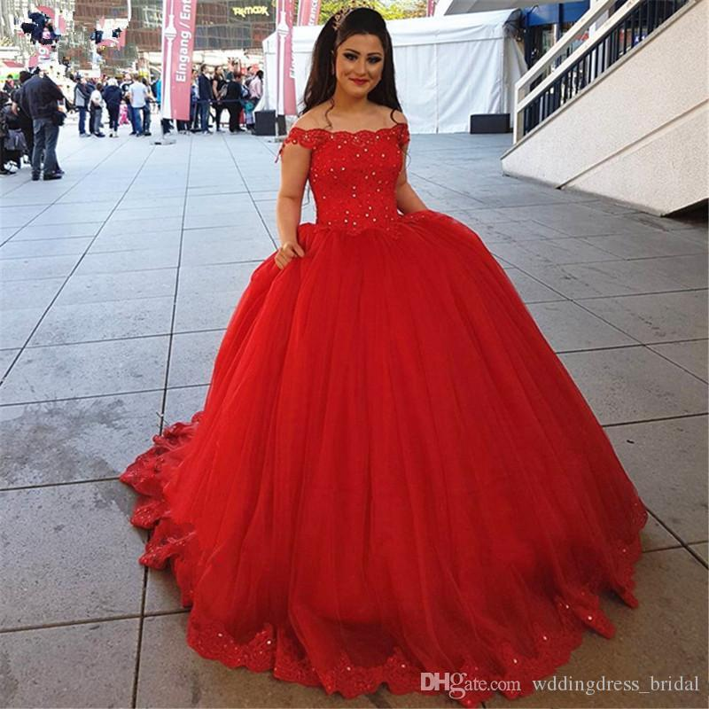 2e025973029 Red Sweet 16 Vestidos de Baile Vestidos Quinceanera Puffy 2019 Off the  Shoulders Lace Apliques Árabe Prom Vestido Pageant Vestidos para  Adolescentes