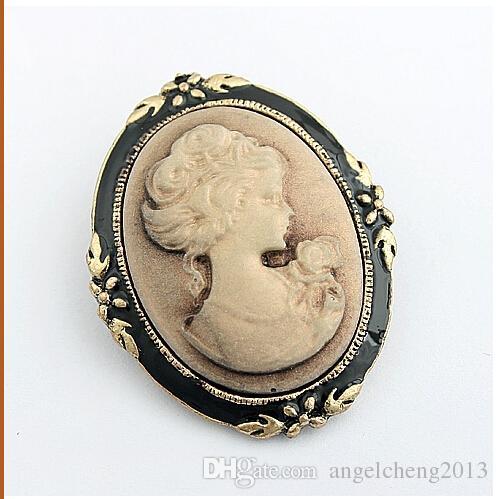 Neue Heiße Verkaufende Schönheit kopf Vintage Brosche Retro Cameo Individualität Pin Brosche Kragen pin Retro Corsage Pin Y009
