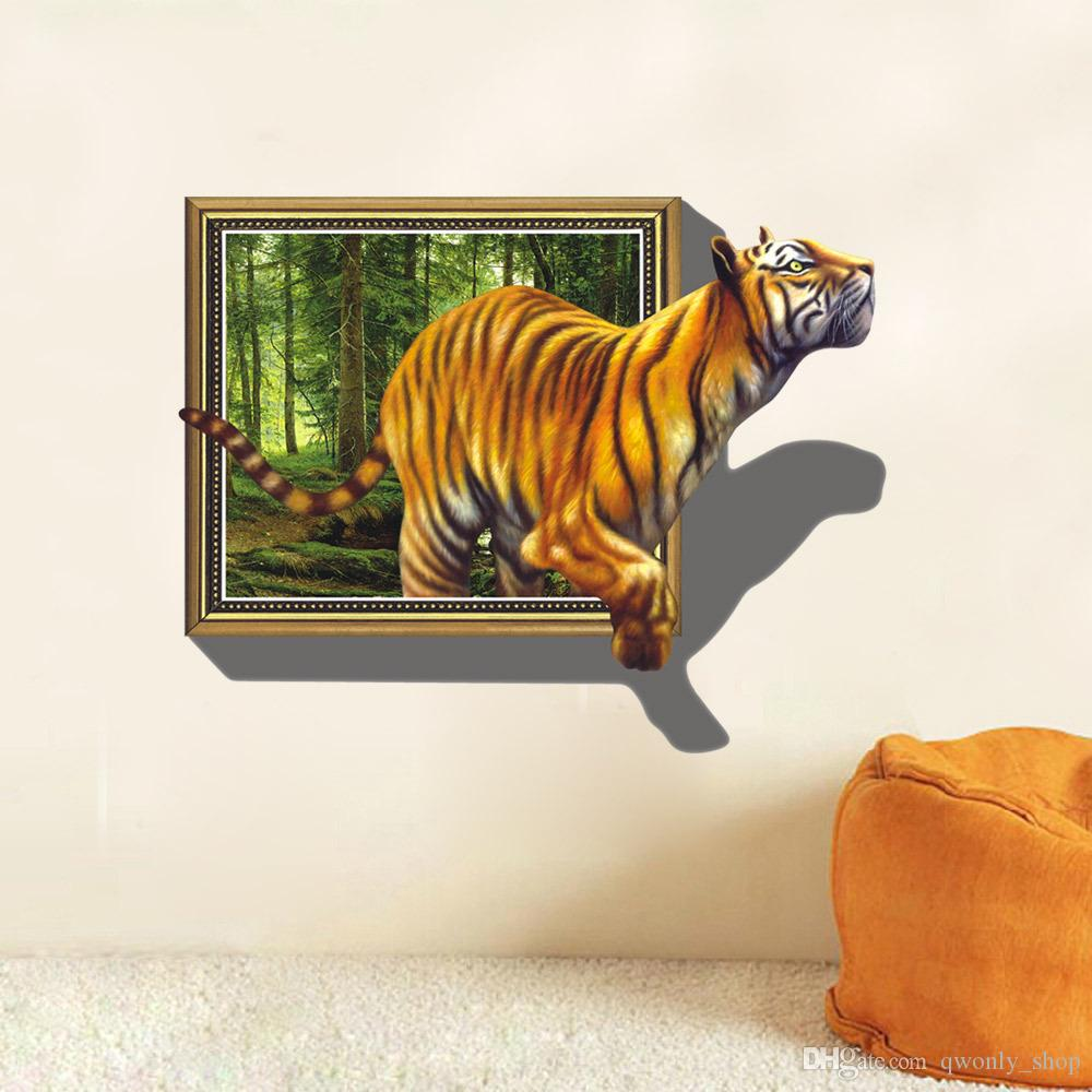 2017 Wall Stickers 3D Tigers Picture Frame Extra Large PVC Removable Creative Kids Room Wall Decal