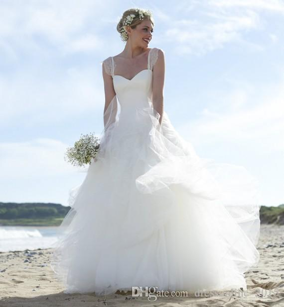 Discount White Beach Ball Gown Wedding Dresses 2015 Off The Shoulder ...