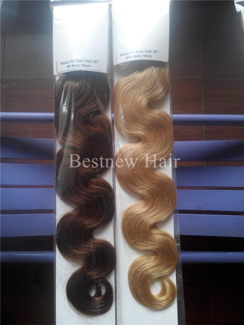 """LUMMY Skin Weft PU Tape In Human Hair 18""""-24"""" 100g Indian Remy Human Hair Extensions"""