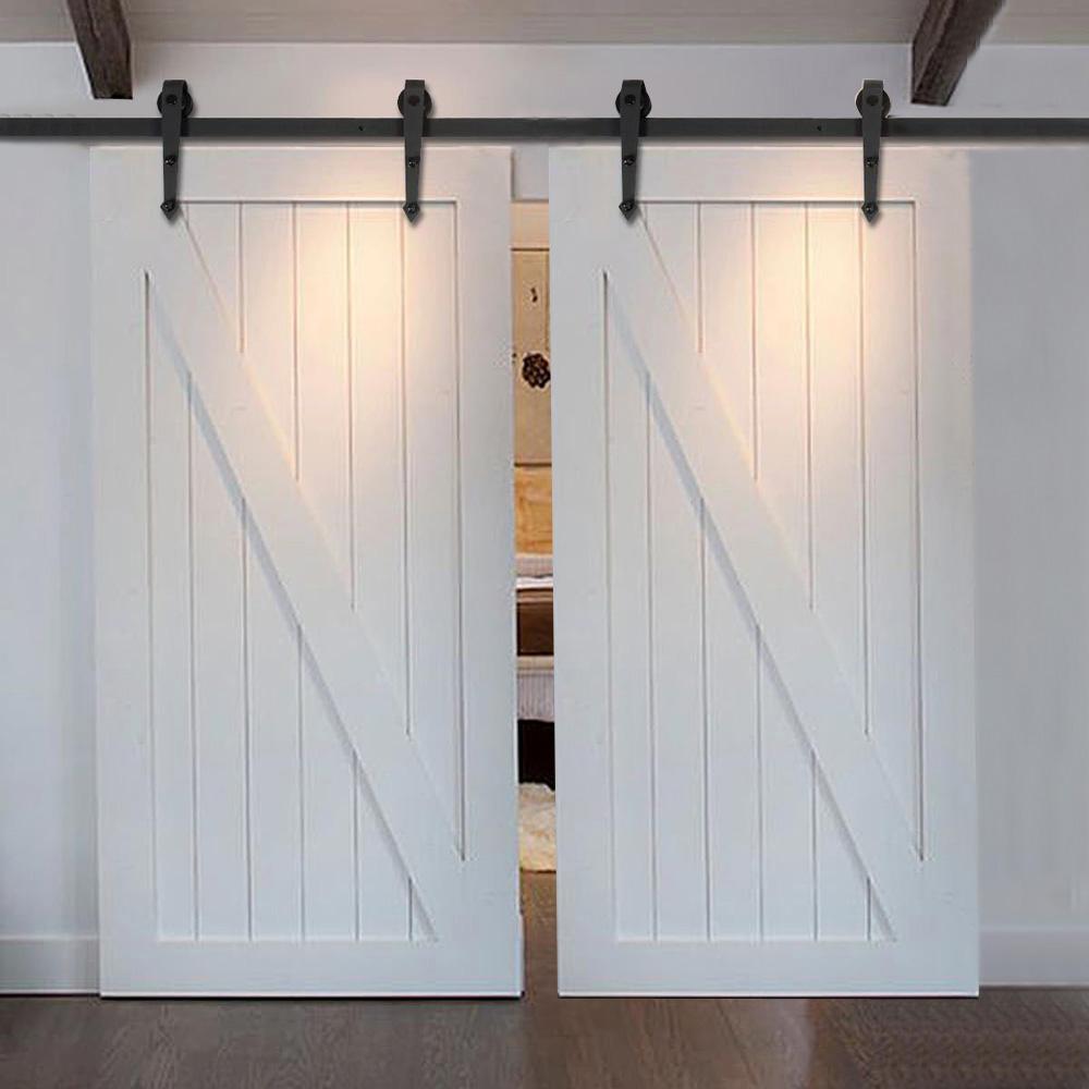 2018 7.5ft Arrow Stylish Antique Black Wooden Double Sliding Barn Closet  Door Heavy Duty Modern Wood Hardware Interior American Style Track Kit From  ...