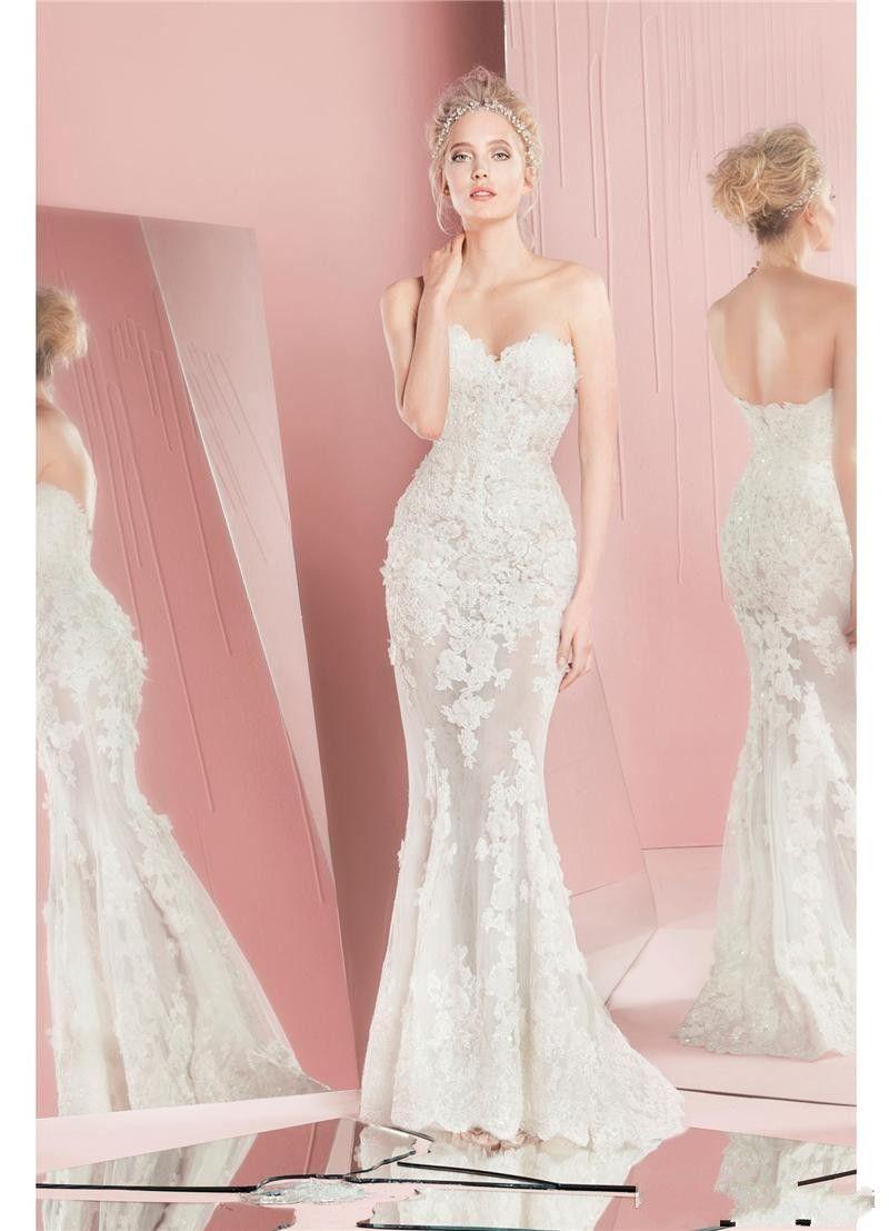 2019 Zuhair Murad Mermaid Lace Wedding Dresses Long Sleeves Detachable Train Sweetheart Neckline Applique Bridal Gowns Custom Made