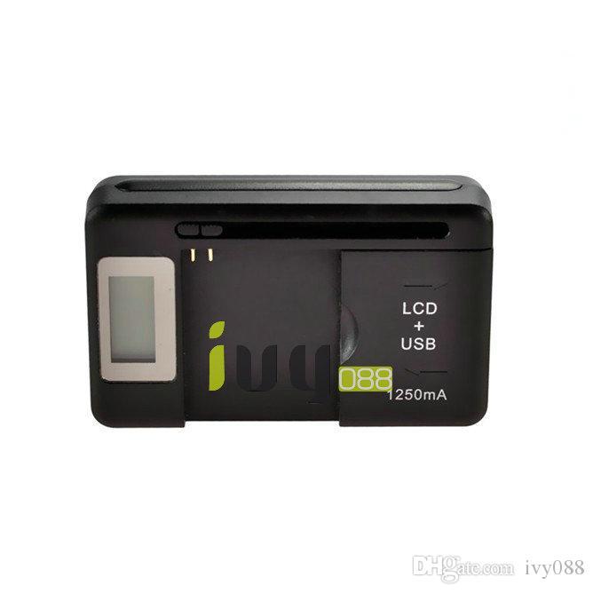 Evrensel LCD + USB Portu 1250 mAH Pil Duvar Seyahat Şarj Akıllı PDA Cep Telefonu Için Galaxy S5 S4 S3 S2 Galaxy Not 3 Not 2 100 adet / grup