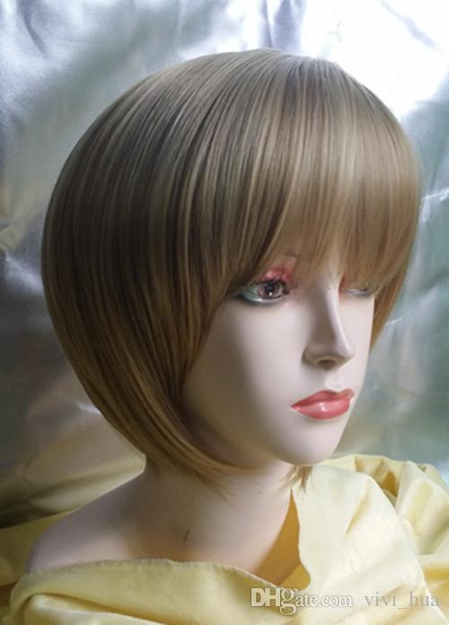 New Full wigs Fashion Sexy short hair Blonde high sythetic fiber Like human hair exemption from postage