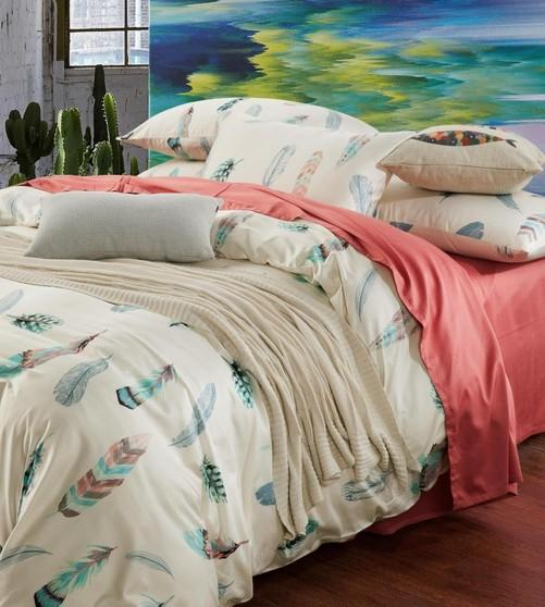 Colorful Feather Bedding Set King Size Queen Full Double Pink Bed ... : size queen quilt - Adamdwight.com