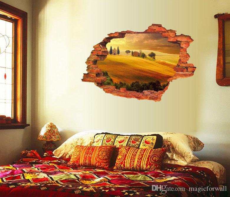 3d gebarsten muur kunst muurschildering decor grasland woestijn dorp zonsondergang zonsopgang zeegezicht romantische lavendel liefde zee steeg landschap muursticker