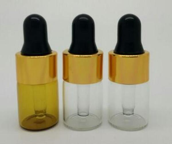 2ml Amber glass e liquid Eye Contagocce, ESSENTIAL OIL BOTTLE, Serum Perfume mini Portable glass Bottles metal dropper lid oro