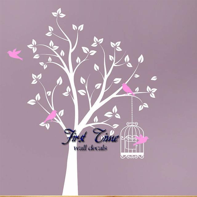Huge White Tree Birdcage Birds Wall Sticker Popular Wall Stickers For Kids  Room Wall Decal Personality Custom Made Wall Decor Part 46