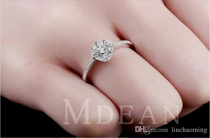 Высокое качество 925 стерлингового серебра Обручальные кольца партии кольца с кубического циркония кольцо из белого золота Fit костюм Женщины Кольца ювелирных
