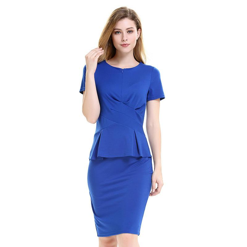 2018 Pleated Work Dresses Ladies Ol Style Office Career Formal Solid