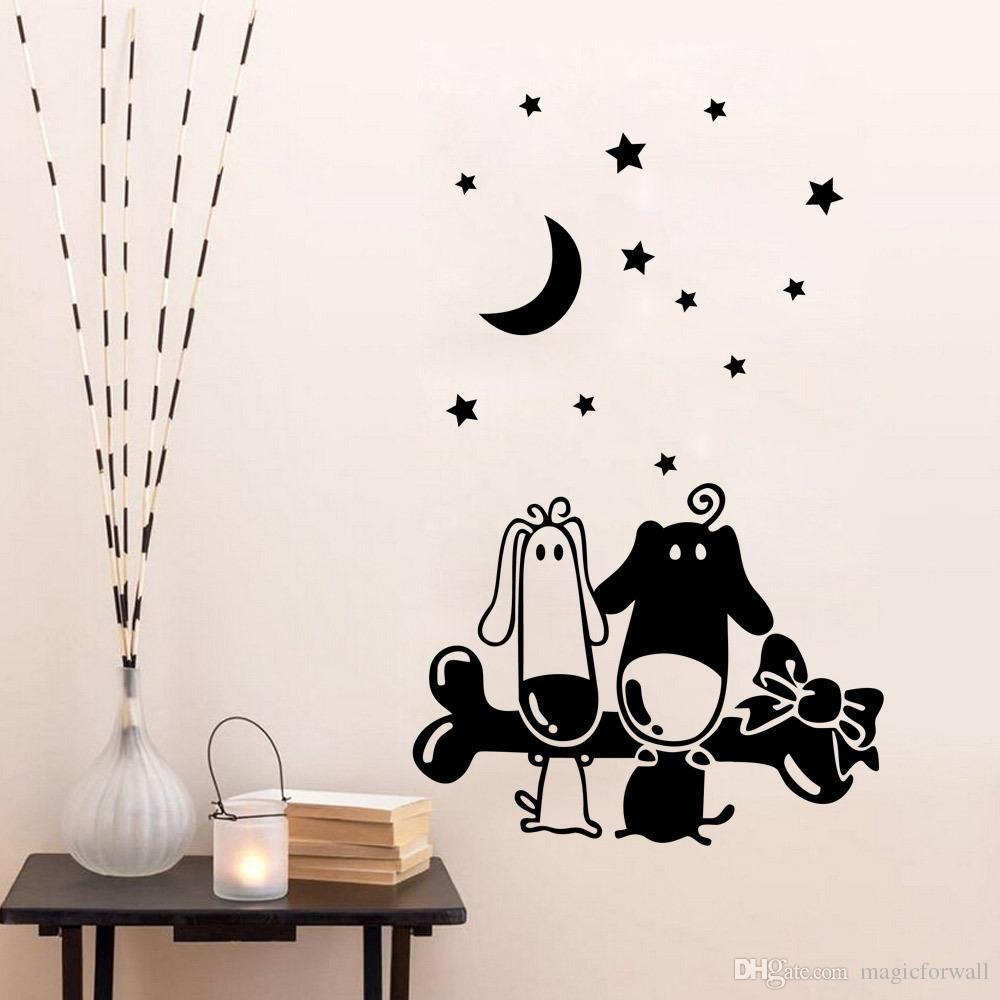 Osso do filhote de cachorro dos desenhos animados da arte da parede mural decalque adesivo little star lua papel de parede decoração poster home art decor crianças meninos meninas quarto decalque da parede