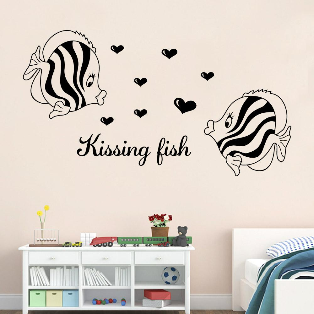 Wall stickers for bathroom - Kissing Fish Wall Art Mural Poster Decor Home Art Wall Decal Sticker Bathroom Bedroom Decoration Wallpaper Wall Decal For Bedroom Wall Decal Mural From