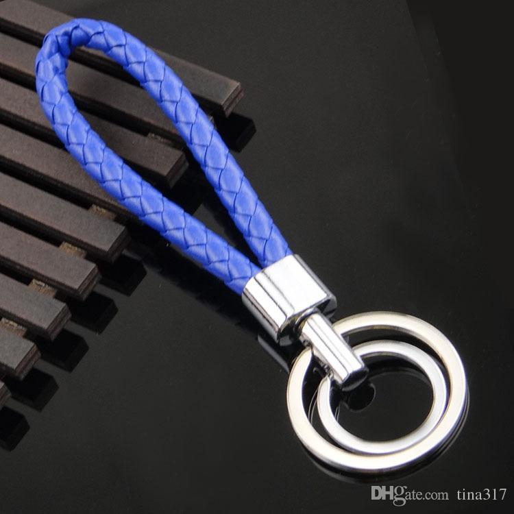 Petits cadeaux accessoires de mode tressé en cuir cordon en métal porte-clés tisser porte-clés en vente la nouvelle 2016 Weave Strap Key Chain 1527