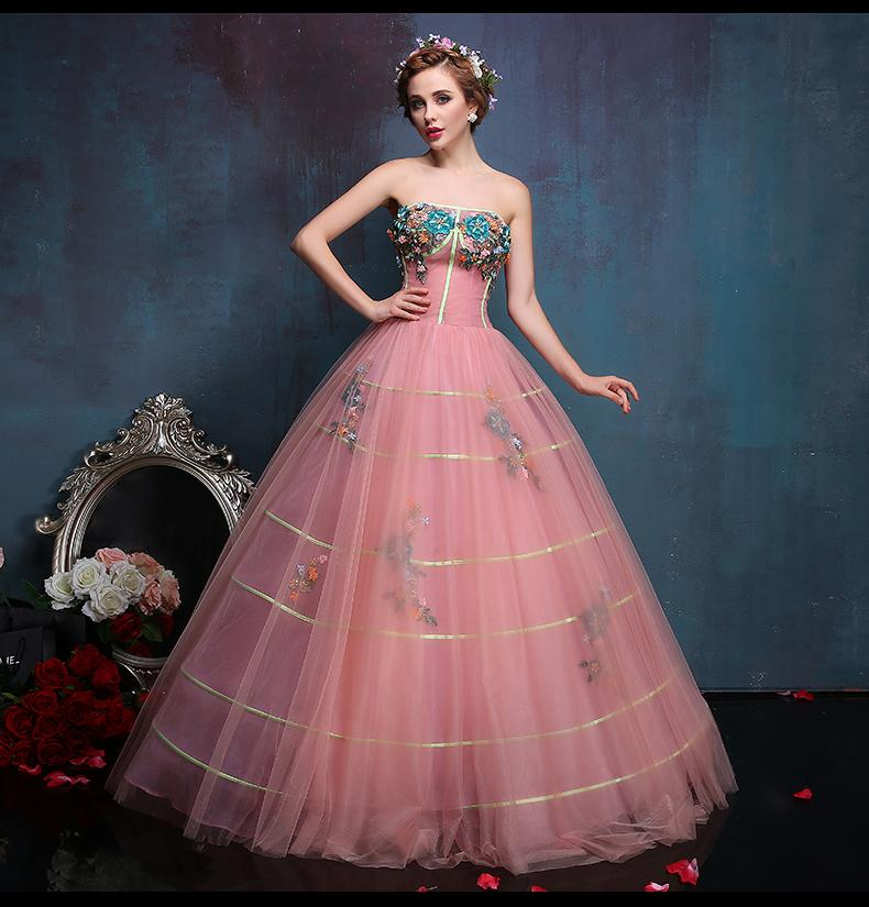 32dfe47974 100% real luz rosa bordado vestido de baile Medieval vestido renascentista  vestido sissi princesa vestido vitoriano gótico   Marie Antoinett Belle Ball