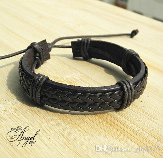 Двойной натуральная кожа Wrap Плетеные браслеты широкие Панк браслеты Конопля браслеты моды для мужчин женщин Handmade Новые оптовые