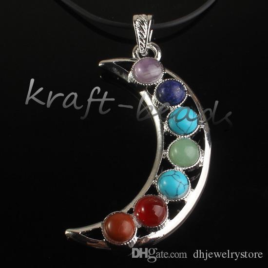 Commercio all'ingrosso fascino argento placcato Mix 7 pietra perline Chakra Healing Point pietra gioielli ciondolo collana adatta