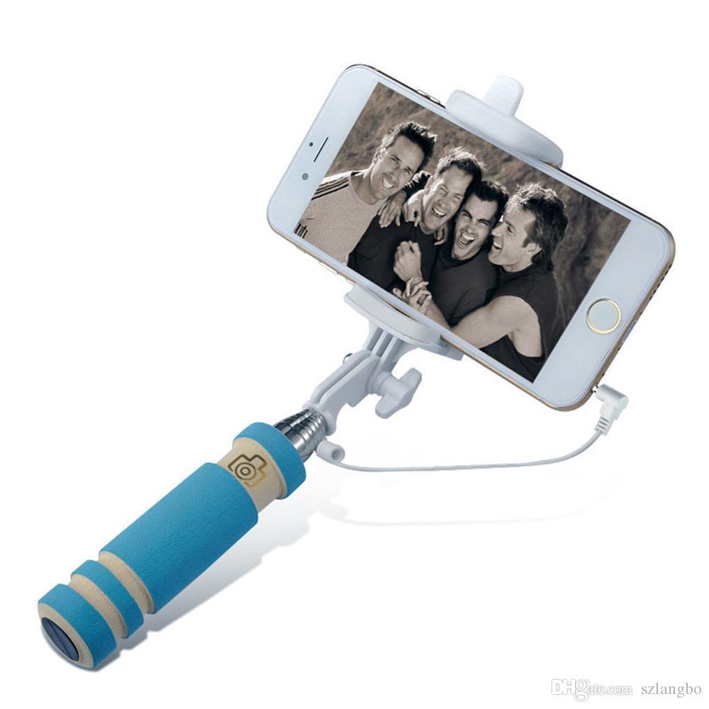 Filaire mini bâton selfie extensible poche monopied intégré obturateur pli support d'auto-portrait pour système iOS / Android