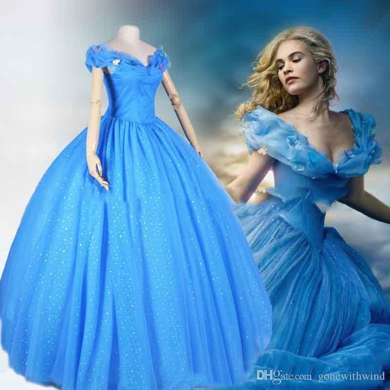 2015 Lovely Cinderella Prom Dresses Ball Gowns Off Shoulders Blue ...