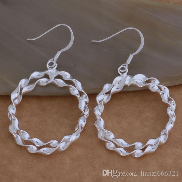 Мода изготовление ювелирных изделий 40 шт много 2 витой круг серьги стерлингового серебра 925 заводская цена мода обуви серьги
