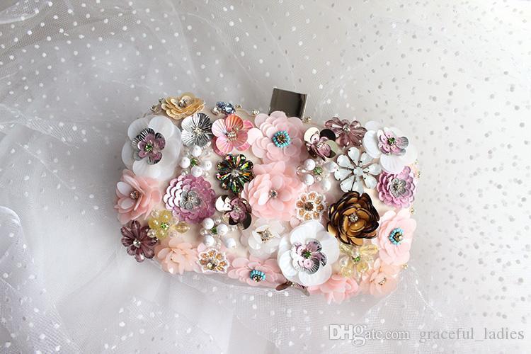 أنيقة الأميرة لطيف حقائب اليد ل مساء براثن مع سلسلة حقائب الزفاف الزفاف الزهور الترتر حقيبة اليد الزفاف اليدوية