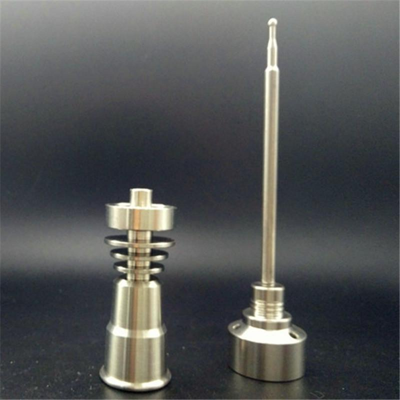 6 In 1 Titanium Nail 1 hole Titanium Carb Cap 10/14/18mm Female & Male Domeless nail Joint For Glass Pipe