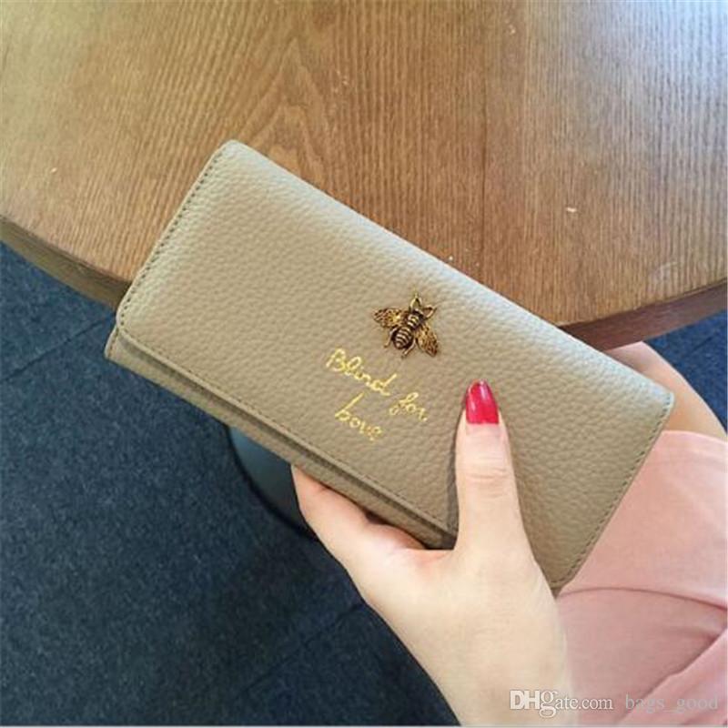 Brieftaschen aus echtem Leder für Geldbörsen Modetaschen mit Metallbiene Großer Kartenhalter Damenbrieftasche