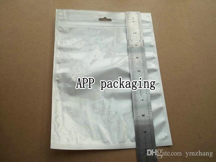 18x25cm White Clear Self Seal Zipper Plastic Poly Retail Packaging Bag For iPhone 5 5s Samsung S5 S6 ipad Case with hang hole Package Bags