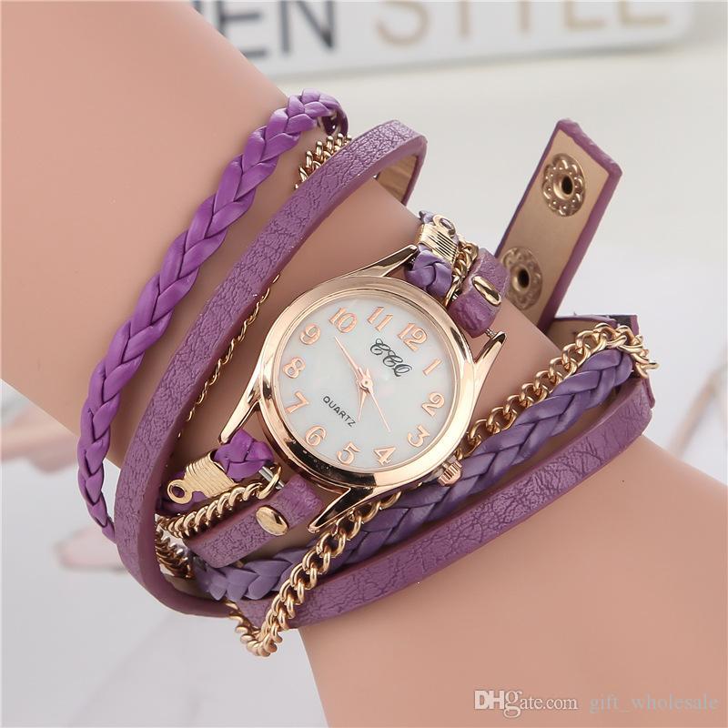 2015 Luxury Fashion reloj de pulsera para mujer Lady Wrap relojes de cuero de muñeca Dial redondo encantador Infinity pulseras relojes
