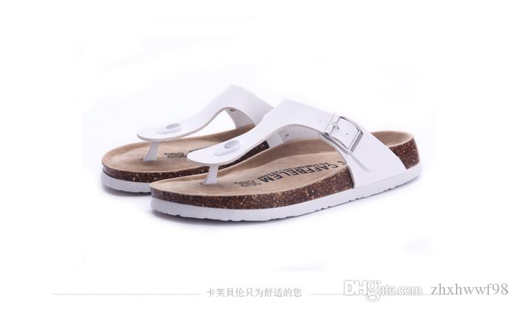 New arrival summer woman men flats sandals Cork slippers unisex casual shoes print mixed colors flip flop size 35-43