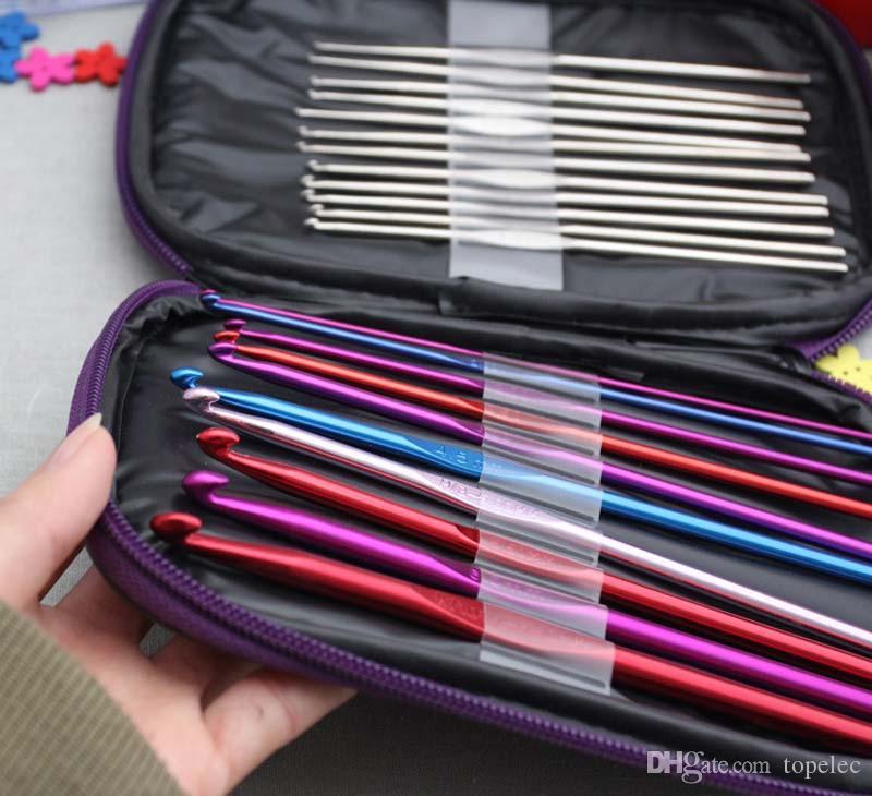 Craft Case Aluminum Crochet Hooks Needles Knit Weave Stitches Knitting /Set
