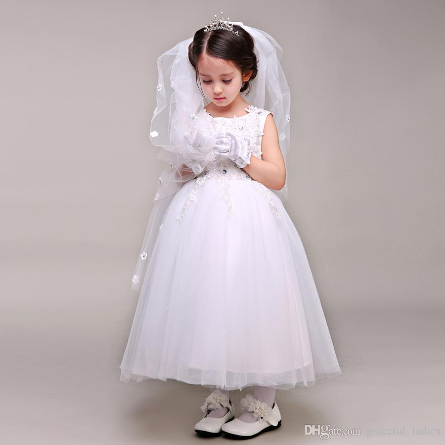 White Princess Flower Girl Wedding Veil Flower Petails Appliques Kids Accessories Kids Formal Wear Bridal Veils Princess Headpiece