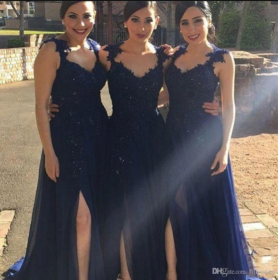 Dark Navy Blue Long Bridesmaid Dresses For Wedding Evening Gowns Beaded Lace Top A Line Chiffon Wedding Party Dresses Side Slit Custom Made