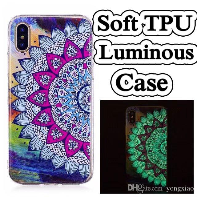 a4c27766ee Ultra Thin Cartoon Printed Glow in Dark Night Luminous Soft TPU Case Dog  Tribe Unicorn For iPhone 6 7 8 Plus X Samsung S7 edge S8 Note 8