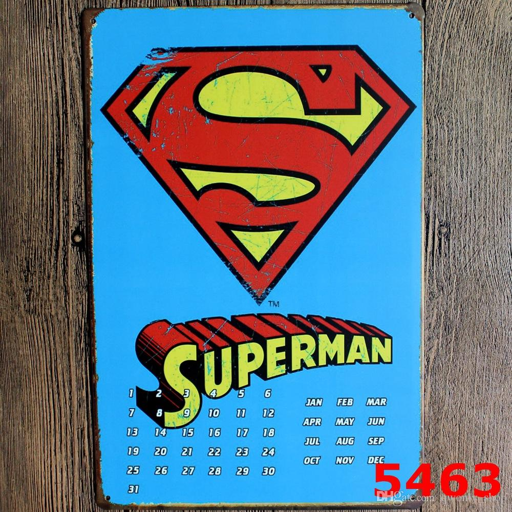 Super Man Vintage Metal Signs Home Decor Vintage Tin Signs Pub Vintage  Decorative Plates Metal Wall Art 20*30cm Wall Stickers For Girls Wall  Stickers For ...