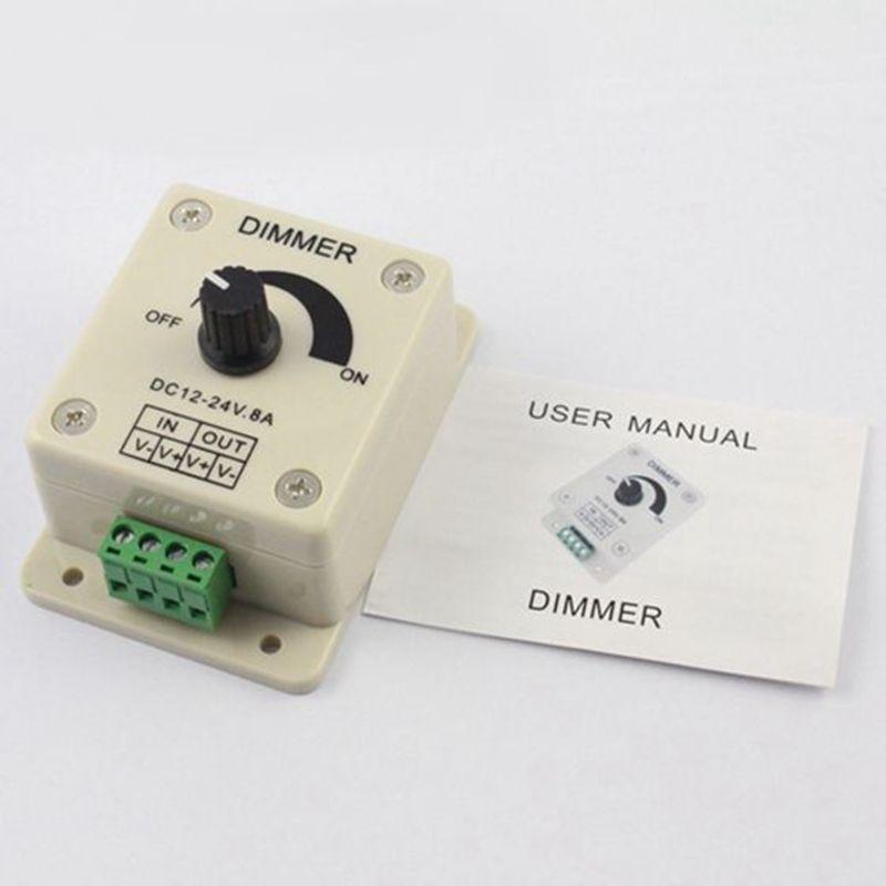 12V 24V DC 8A 96W 단일 색상 손잡이 LED 조 광 컨트롤러 3528 5050 2835 5630 3014 LED 스트립 조명