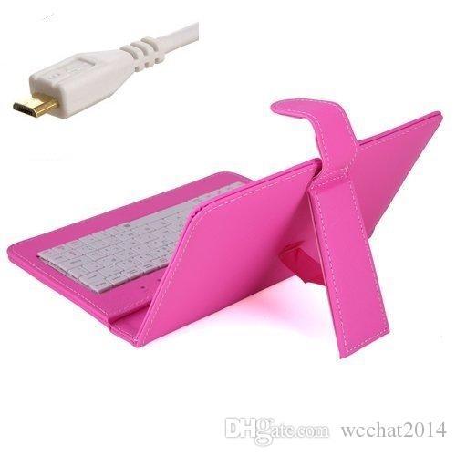 유니버설 마이크로 USB 키보드 케이스 킥 스탠드 스탠드 가죽 케이블 7 8 9 10.1 인치 안드로이드 태블릿 PC에 대 한 MICRO OTG 케이블