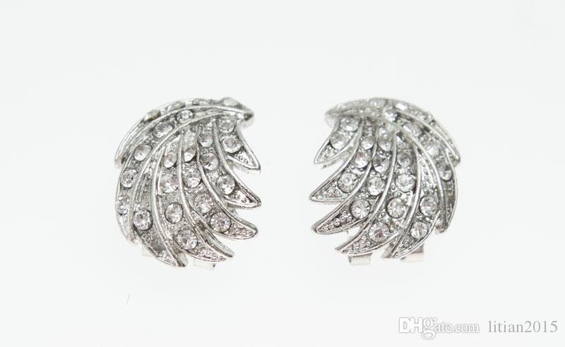شحن مجاني 2015 يترك شكل الفضة مطلي واضح كريستال مجوهرات مجموعة جديد أزياء الزفاف العرسان مجموعات المجوهرات الأفريقية