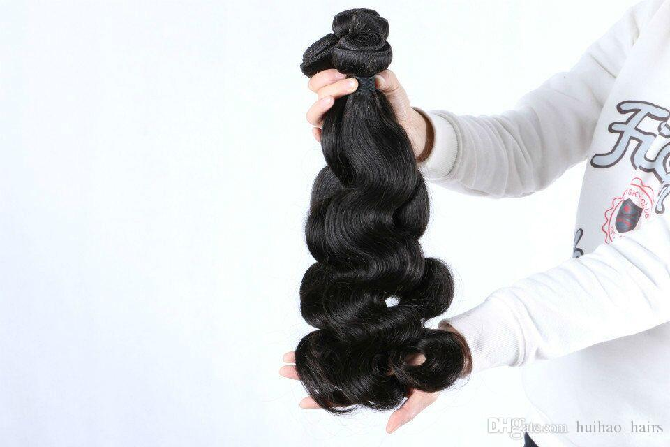 8A Peruvian Weave Wavy Body Waves for Medium Length Hair 4Bundles with High Quality Low Price