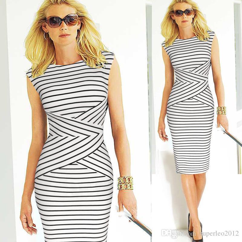 Zomerjurk dames jurken mujer afslanken gestreepte jurk plus size vrouwen kleding vestido jurken zomerstijl