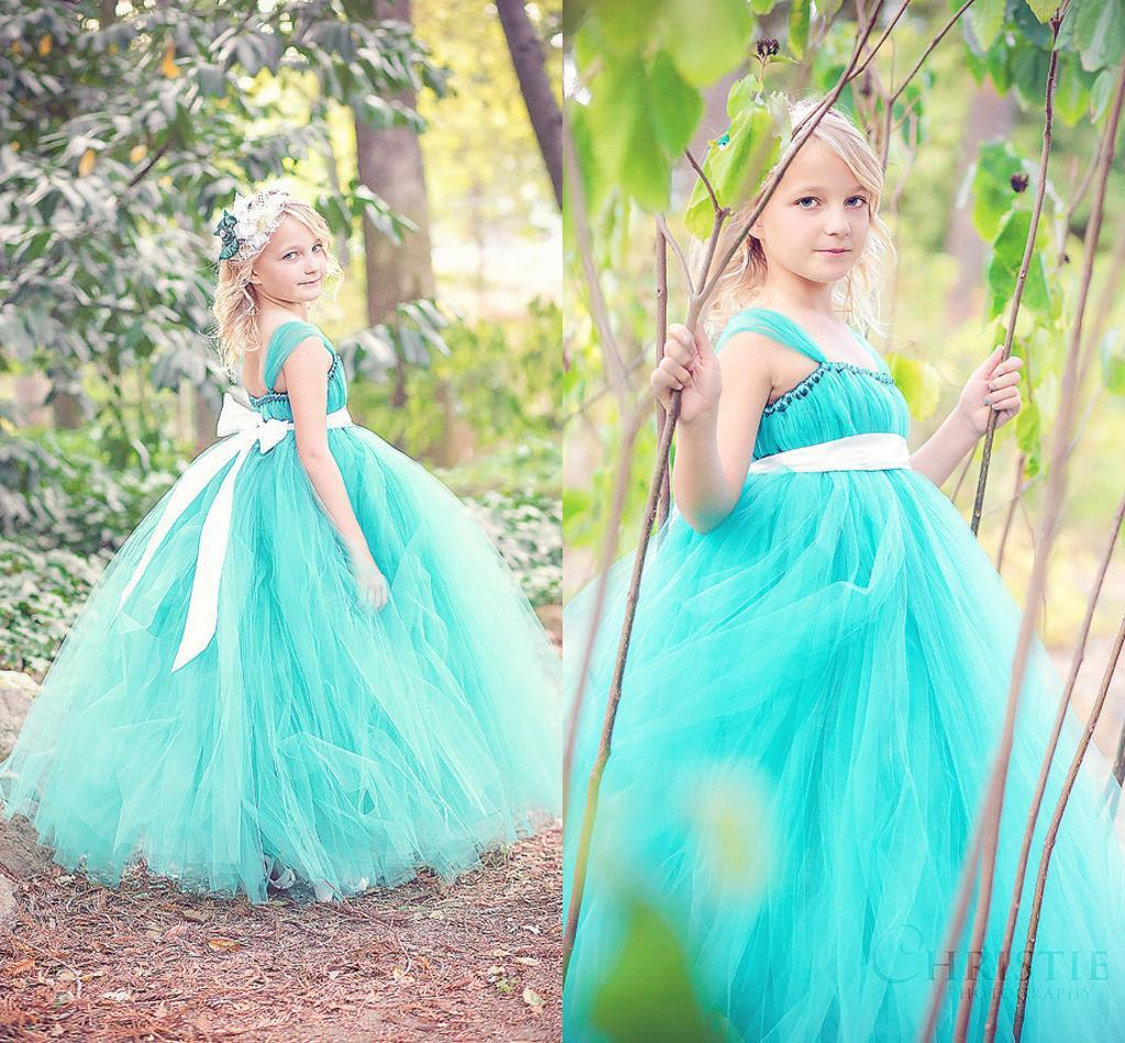 Beautiful Little Girls Cap Sleeves Teal Tulle Floor Length Cap ...