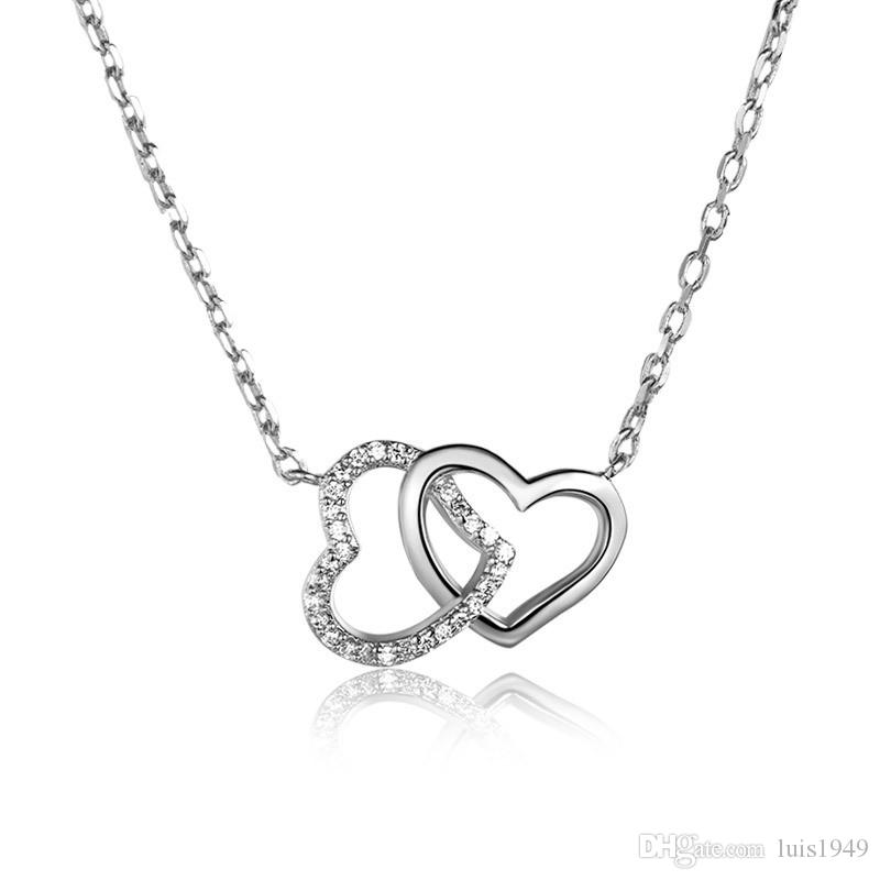 Wholesale 925 sterling silver pendants women white gold rose gold wholesale 925 sterling silver pendants women white gold rose gold double heart pendant necklaces fashion jewelry gift pendant silver chain necklace from aloadofball Gallery