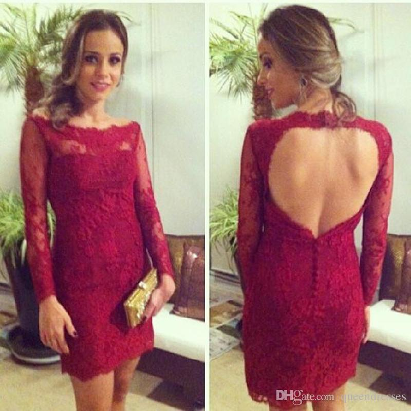 ba27154c3e1c Cute Burgundy Cocktail Dresses Short Lace Mermaid Backless Mini Evening  Gowns Long Sleeve Formal Special Occasion Homecoming Party Dress Cocktail  Dress ...
