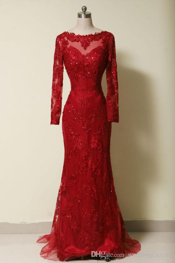 Wysokiej jakości prawdziwe sukienki zdjęciowe Czerwony Syrenka Suknie Wieczorowe Illusion Neck Długie Rękawy Zroszony Haft Korowód Formalny Party Plus Rozmiar