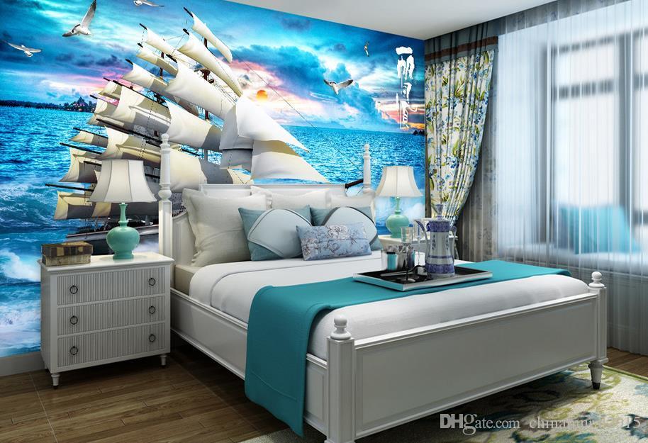 papeles de la pared del papel pintado 3d 3d mural para TV telón de fondo de mar de papel la naturaleza la pared del paisaje paisaje de vela