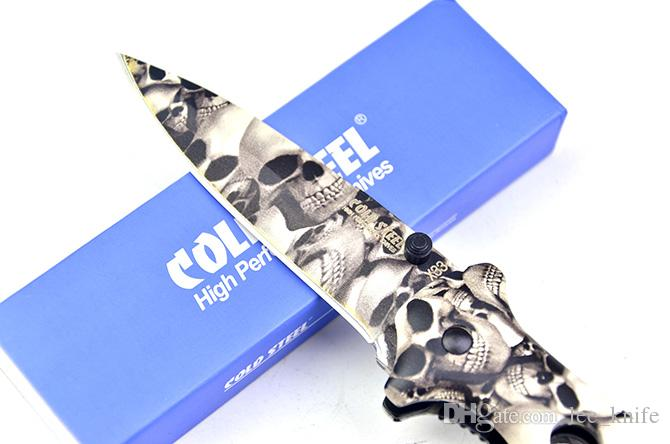 Il cranio d'acciaio freddo di alta qualità coperto X-33 che piega la lama coltiva il coltello di caccia del coltello da tasca del coltello del regalo il trasporto libero