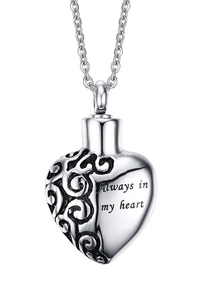 Vintage Cremation Jewellery Stainless Steel Always in my heart Urn Pendant Necklace Memorial Ash Keepsake